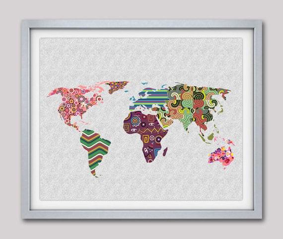 World map art map art decor map print poster geometric art etsy image 0 gumiabroncs Choice Image
