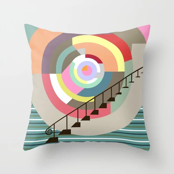 Abstract Geometric Cushion, Colorful Throw Pillow Cubist Decor