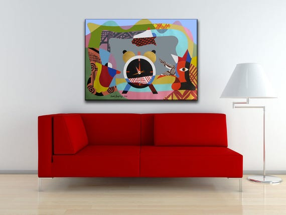 Abstract Rooster Art, Abstract Canvas Art, Abstract Painting, Original Geometric Abstract Canvas, Original Cubist Painting, Time Art