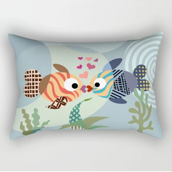 Kissing Fish Pillow, Love Fish Decor, Valentine Gift