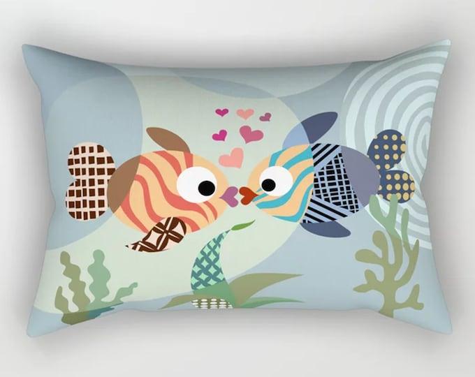 Kissing Fish Pillow, Love Fish Decor, Valentine Gift