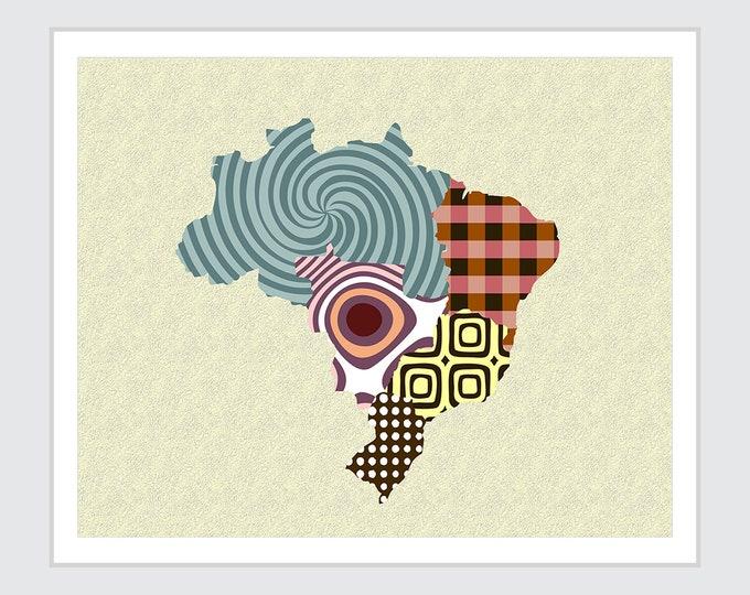 Brazil Map Art, Rio de Janeiro Print  Country Decor
