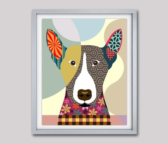 Bull Terrier Art Print, Bull Terrier Gift, Bull Terrier Dog Pet Portrait, Animal Art, Dog Painting, Dog Wall Art