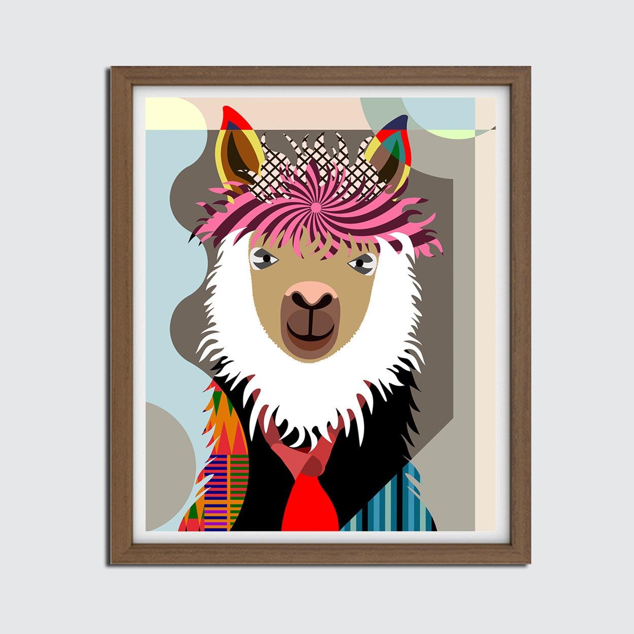 Llama Wall Art Decor Gift, Hipster Animal Painting