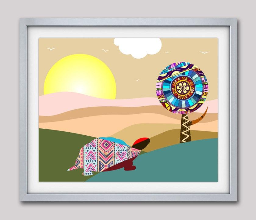 Tortoise Art Print, Animal Print Abstract Nature Landscape Painting ...