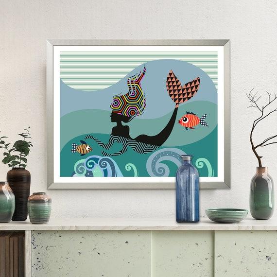 Mermaid Wall Art Print, Girls Room Decor