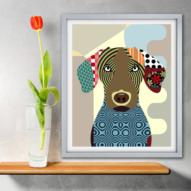 Vizsla Art Print Hungarian Dog  Pet Portrait image 0