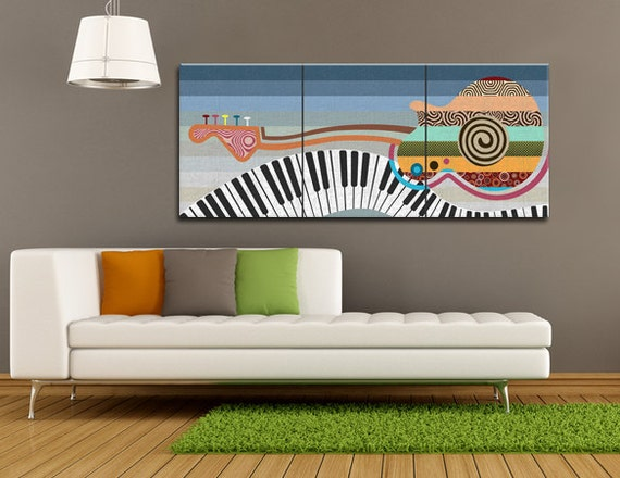 Large Abstract Music Painting, Triptych Wall Art Painting, Pop Art Painting Piano, Guitar Art, Textured Wall Art, Colours, Minimalist Art