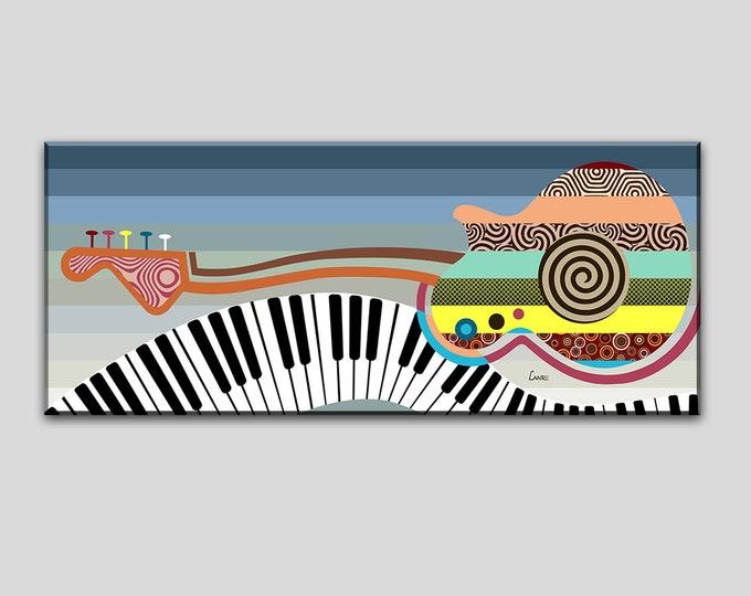 Large Music Wall Decor, Guitar Piano Canvas Art