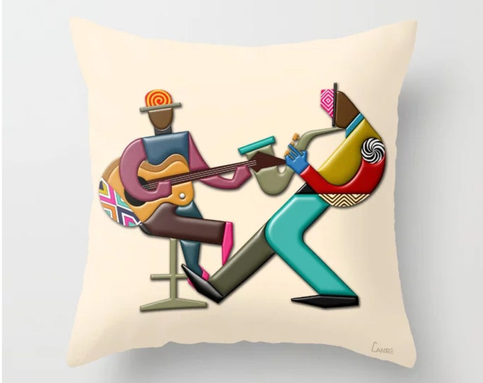 Music Throw Pillow Jazz Décor, Couch Cushion DJ Gift