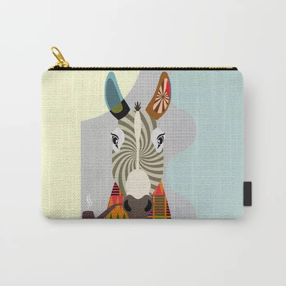 Donkey Purse, Animal Hipster Print Zipper Pouch