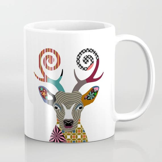 Deer Mug, Deer Gifts, Animal Mug, Deer Lover Gift, Deer Print, Animal Print, Cool Coffee Mugs