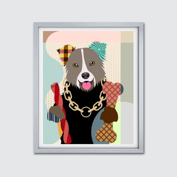 Border Collie Print Painting Gift, Hipster Dog Wall Art, Funny Pet Portrait