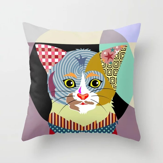 Cat Throw Pillow, Kitten Cushion Pet Decor