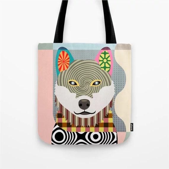 Shiba Inu Tote, Shibe Dog Weekend Bag Pet Portrait
