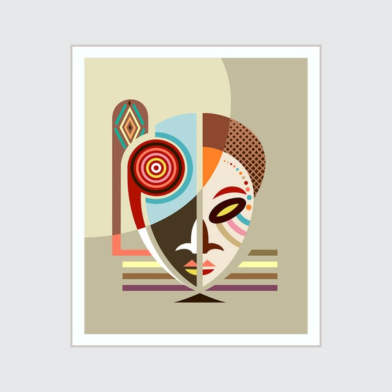 African Mask Print, Tribal Art Black American Afrocentric Decor