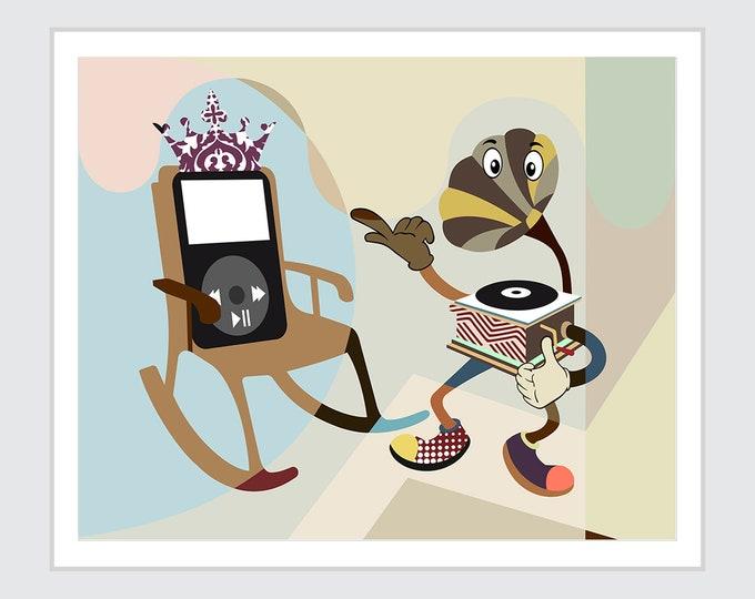 Phonograph Poster Music Decor, Vinyl Art Print