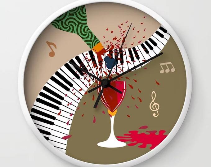 Music Wall Clock, Wine Lover Gift Piano Decor