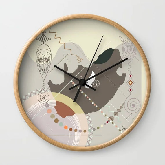 South African Decor Art, South African Gift, South African Map, South African Painting, Zulu Art Clock, African Gift, African Art