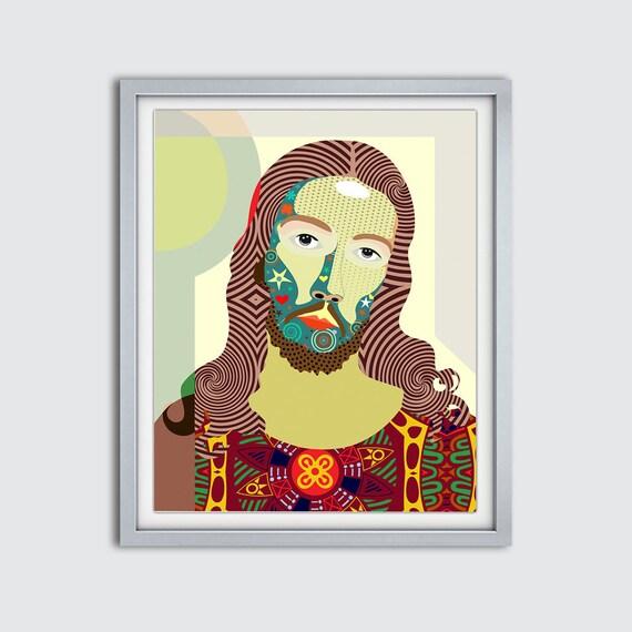 Jesus Art Drawing, Jesus Painting, Jesus Portrait,  Jesus Poster, Jesus Print, Jesus Decor, Jesus Gifts, Jesus Wall Art, Jesus Wall Decor