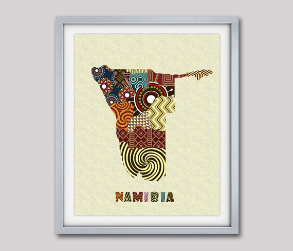 Namibia Map Art Print Wall Decor, Namibia Poster,  Windhoek Namibia African Art Print, African Map, Namibia South Africa Painting