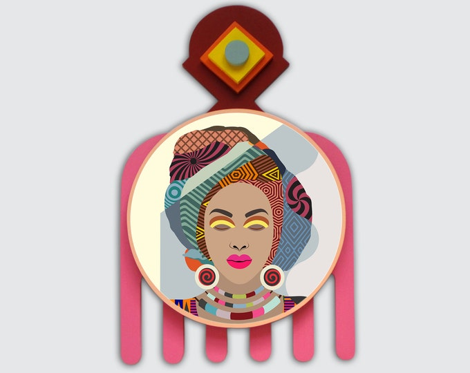 African Woman Art Painting, Black Girl Decor, African Headwrap Art, Black Queen Painting, Adinkra Duafe, African America Wall Art