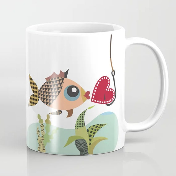 Fish Mug Love Coffee Cup, Valentine Gift