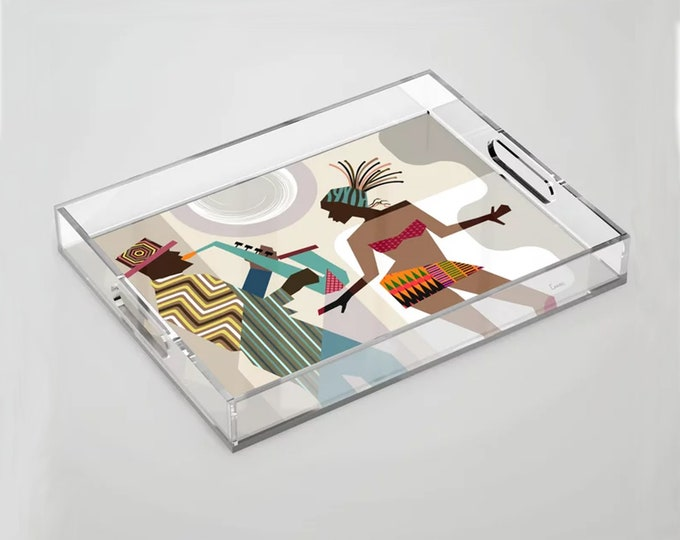 Music Tray Jazz Gift, kitchen Accents Saxophone Art  Dance Painting