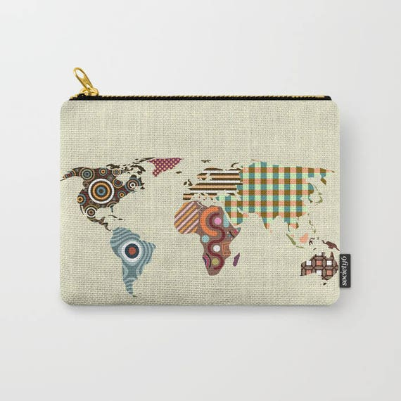 World Map Coin Purse Zipper Pouch Printed Wallet Etsy