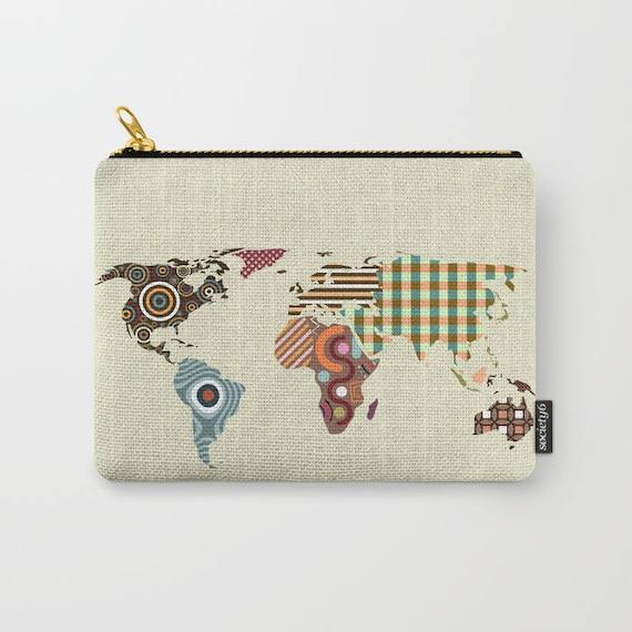 World Map Coin Purse, Zipper Pouch Printed Wallet
