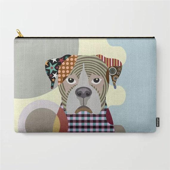Boxer Dog Pouch, Dog Zipper Canvas Purse Doggy Portrait