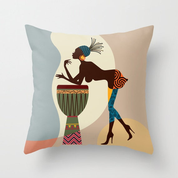 African Pillow, Afrocentric Decor Pillow, African Decorative Throw Pillow, African Woman, African Home Decor