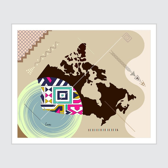 Canada Map Art, Abstract Print Geometric Design