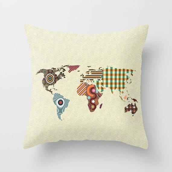 World Map Throw Pillow, Globe Pillow