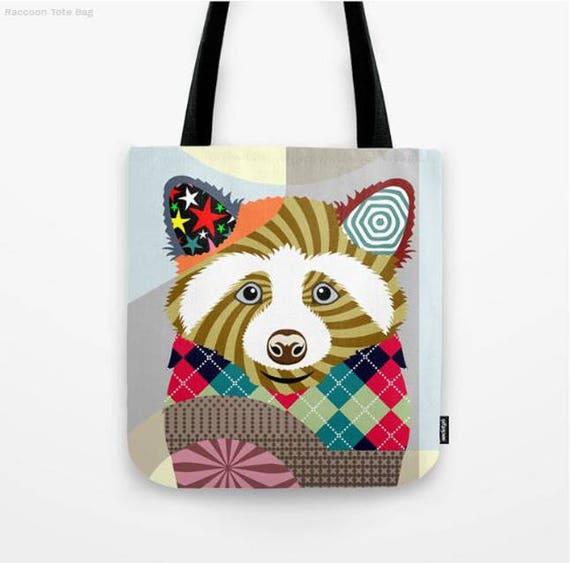 Raccoon Tote Bag, Animal Tote Decorative Raccoon Bag, Raccoon Lovers Gift Tote Bag, Animal Lovers Gift