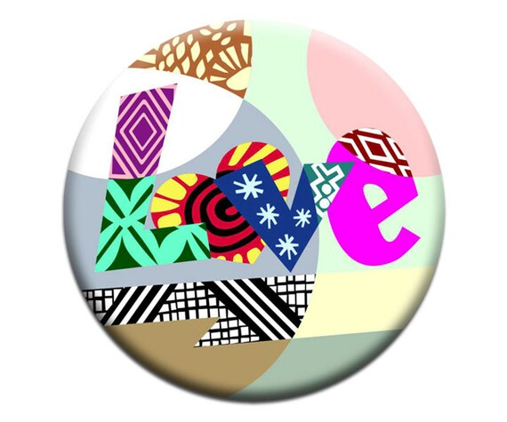 Art Magnet Love,  Kids Fridge Magnets, Fridge Art, Typography Art Magnet, 2. 25 inches diameter and 0.25 inches thick, Christmas Ideas