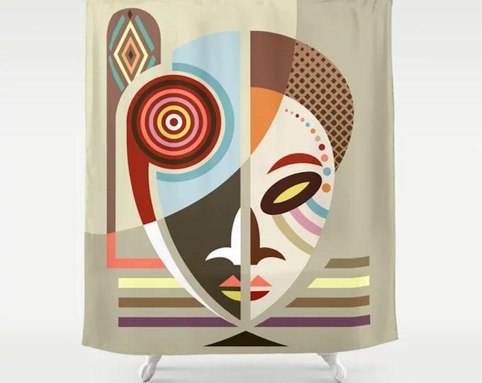 African Shower Curtain, Black American Bathroom Décor, kwanzaa Gifts