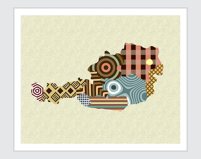 Austria Map Vienna Print, Geometric Decor Abstract Design