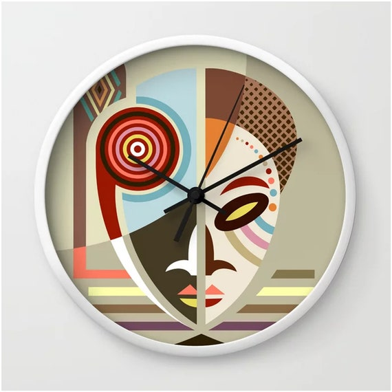 African Clock, Ethnic Mask Wall Decor