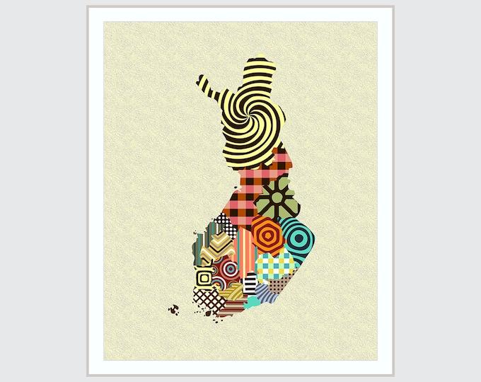 Finland Map Art, Helsinki Finnish design Poster Printing, Suomi Print  Decor