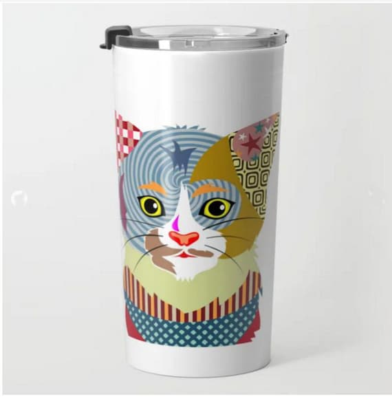 Cat Travel Coffee Mug, Cute Cat Travel Mug,  Metal Mug, Pet Mug, Cat Lover Mug, Tea Mug, Cat Lover Gift, Travel Gift
