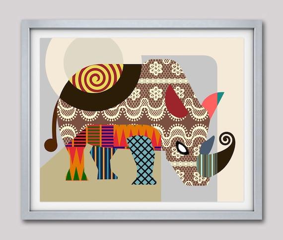 Rhinoceros Painting, Rhino Decor, Rhino Print, Rhino Poster, Rhino Art Black & White, Rhinoceros Print, Rhino Gifts, Rhino Art Wall