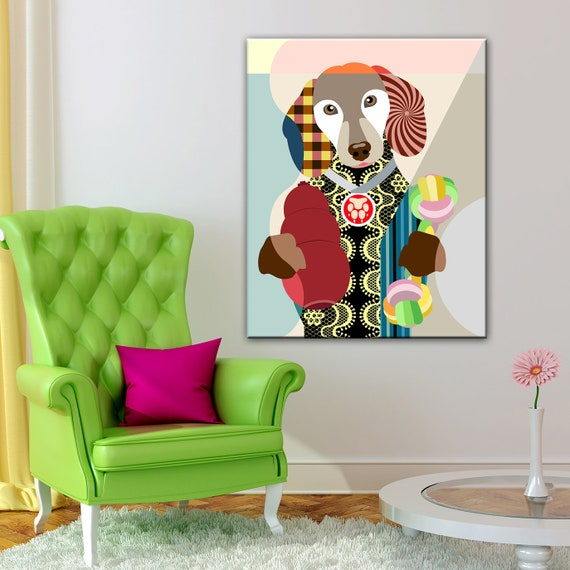 Dachshund Wall Decor, Doxie Dackel  Teckel Sausage Dog Hipster Animal Print Painting Gift