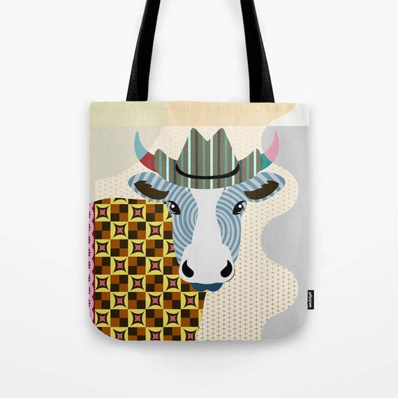 Cow Tote Bag,  Cow Lovers Gift, Cow Print, Farm Animal Art, Animal Portrait, Farm Animal Gift, Farm Animal Gift Bag