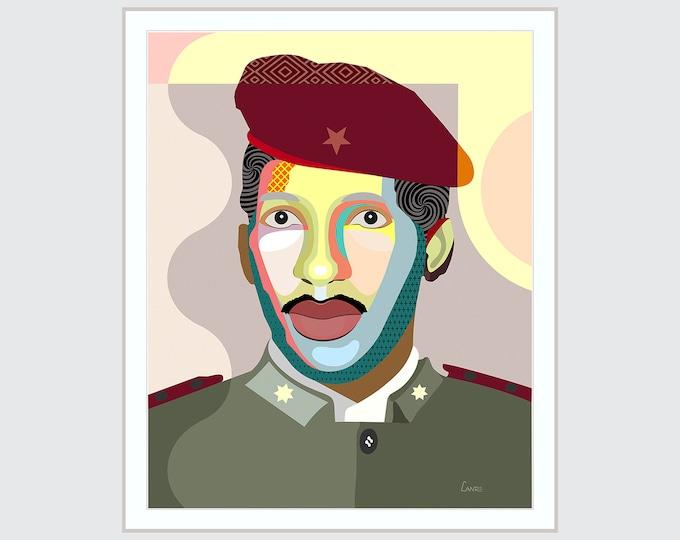 Thomas Sankara Poster, African Portrait Art Black Leaders Print