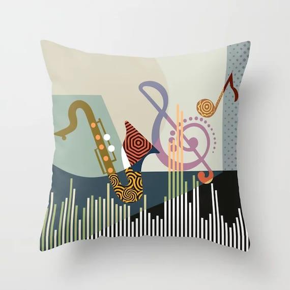 Music Throw Pillow, Saxophone DJ Musician Gift Decor