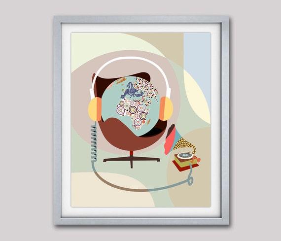 World Globe Poster, Painted Globe, Globe Print, Music Poster, Music Gift, Music Decor, Gramophone, World Map Poster Art