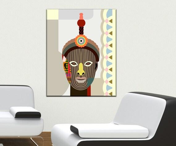 Yoruba Wall Art, Odùduwà Art Print, Yoruba Statue Painting, Yoruba Religion, Nigerian Art Print Painting, Nigerian Mask, African Mask Print