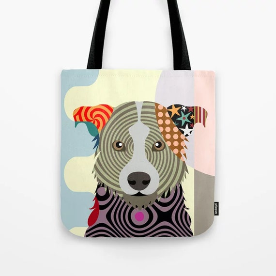 Border Collie Tote, Dog Shopping Bag Scottish Sheepdog Sack