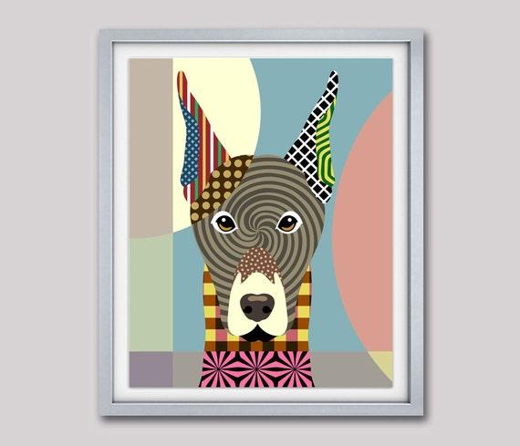 Doberman Art, Doberman Pinscher, Doberman Gifts, Dobbie, Dog Portrait Painting, Pop Art Dog, Dog Lover Gift, Cute Dog, Dog Wall Art